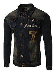 Men's Print Long Sleeve Jacket , Cotton / Denim Casual