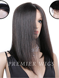 8A Premierwigs 8''-24'' Indian Remy Straight Silk Base Top Lace Front Human Hair Wigs With Baby Hair For Black Women