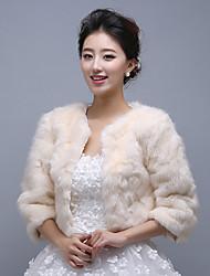 Champagne 3/4-Length Sleeve Wedding Wraps/Party/Evening Imitation Cashmere Coats/Jackets