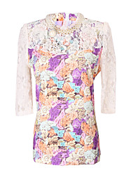 Women's Print Pink / Purple Dress , Print Round Neck ½ Length Sleeve