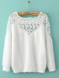 Women's Lace Solid White Black Sweater