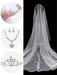 Wedding Accessories Set(Veil & Wrist Corsage & Headdress & Necklace & Earrings)