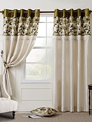 Country Curtains® Room Darkening Faux Silk with Pleated Band Printing lined Curtain Two Panel