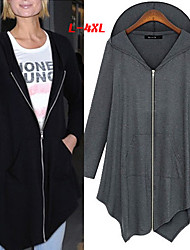 Big girl Women's Solid Color Black / Gray Coats & Jackets , Casual Hoodie Long Sleeve