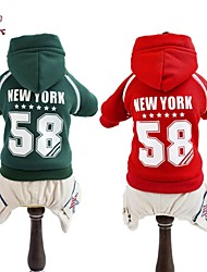 Cat / Dog Coat / Hoodie / Pants Red / Green Winter Letter & Number / Stars Wedding / Cosplay