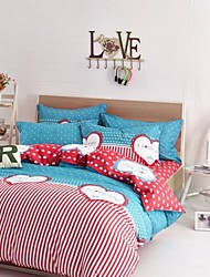 Red Heart Cotton Bedding Set Of 4pcs Four Seasons Use