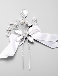 Women's Crystal Alloy Imitation Pearl Polyester Headpiece-Wedding Special Occasion Hair Pin 1 Piece