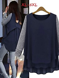 Women's Patchwork Blue Plus size Tops & Blouses , Casual Round Long Sleeve