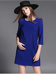 Women's Plus Size Work Dress,Solid Round Neck Mini Long Sleeve Polyester Fall Micro-elastic Opaque