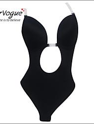 Burvogue Women's Sexy Black Deep V Body Shaper Backless One Piece Shaper S/M/L/XL