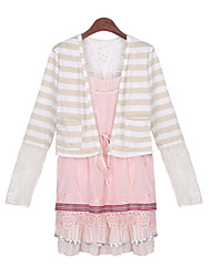 Women's Striped / Patchwork / Lace Pink / Beige Suits , Casual V-Neck Long Sleeve