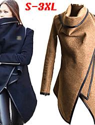 De bochtige mm vrouwen effen kleur blauw / zwart / grijs jassen& jassen, casual high-hals lange mouw plus size