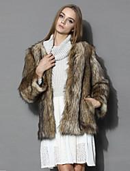 Women's Fashion Faux Fur Long Sleeve Coat