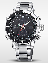 WEIDE Мужской Наручные часы LCD Календарь Секундомер Защита от влаги С двумя часовыми поясами тревога Кварцевый Японский кварцНержавеющая