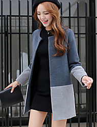 Women's Color Block Gray Slim Large Size Trench Coat , Casual / Work Long Sleeve Tweed / Polyester