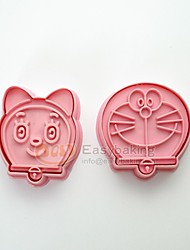 Cute Cartoon Animal 3D Biscuit Mold Doraemon Pokonyan Cookie Cutters and Stamps