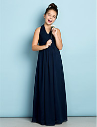 Lanting Bride Floor-length Chiffon Junior Bridesmaid Dress - Mini Me A-line Halter with Draping / Criss Cross
