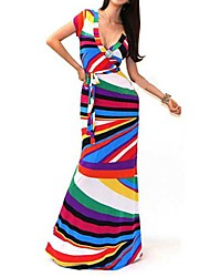 Women's Beach A Line / Swing Dress,Striped / Print V Neck Maxi Short Sleeve Multi-color Cotton / Polyester / Spandex Fall Stretchy Medium