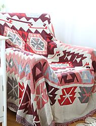 Couverture - 180*130 - en 100% Coton - Blanc / Rouge