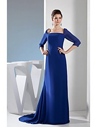 Sheath/Column Mother of the Bride Dress - Royal Blue Court Train Chiffon