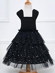 Vestido Chica de - Verano - Malla / Poliéster - Negro / Rosa