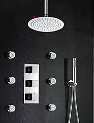With 12 Inch Rain Shower Head Thermostatic Sensitive Rainfall Thermostatic Bathroom Shower Faucet