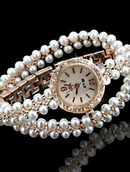 Brand Nice Pearl Watch Women's Watch Imitation Diamond Quartz Wrist Watches High Quality Cool Watches Unique Bracelet Watches Fashion Strap Watch