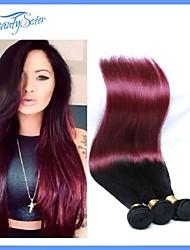 dos tonos de color de pelo # 1b / 99j 4pieces mucho 7a sin procesar del pelo humano peruano omber pelo peruano pelo lacio pelo virginal