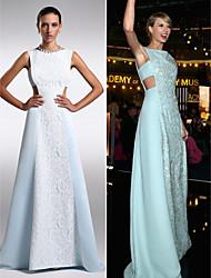 Formal Evening Dress - Sky Blue Plus Sizes / Petite Sheath/Column Bateau Floor-length Chiffon / Lace