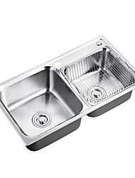 ENZORODI 30*17*8 inch Kitchen Sink Vessel Double Bowl Top Mount 304 Stainless Steel,With Dispenser and Drain ERK124303E