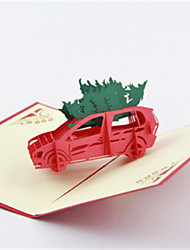 Arbre de Noël cut 3d laser 5pcs / set pop up papier cartes de voeux à la main personnalisé cadeaux de Noël souvenir père noël