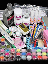 Promotion! 42PCS Acrylic Powder Liquid Brush Glitter Clipper Primer File Nail Art Tips Set Kit