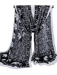 Women Chiffon Scarf Contrast Print Long Thin Shawl Pashmina