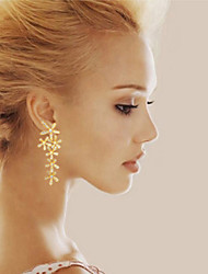 Earring Leaf Drop Earrings Jewelry Women Birthstones Wedding / Party / Daily / Casual Gold Plated 1set Gold / Silver