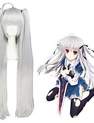 40inch larga gris plata absoluta dúo / julie sigtuna 2ponytails cosplay de anime sintético pelucas cs-264a