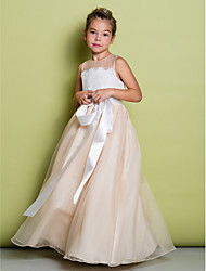 Lanting Bride ® A-line Floor-length Flower Girl Dress - Lace / Organza Sleeveless Jewel with Lace