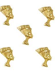 10pcs Egyptian Queen Nefertiti Egypt Theme 3D Gold Nail Art Alloy 7mm x 10mm