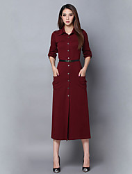 Women's Solid Red Dress , Casual Shirt Collar Long Sleeve