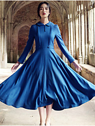 Women's Solid Blue Dress , Vintage / Party / Work / Maxi / Plus Sizes Shirt Collar Long Sleeve/Fashion