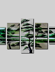 Hand-Painted Oil Painting on Canvas Wall Art Landscape African Scenery Green Trees Four Panel Ready to Hang