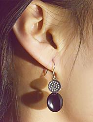 мода 925 серебряных капель мило черный агат серьги женщины
