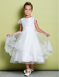 A-line Tea-length Flower Girl Dress - Lace Scoop with Lace