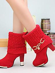 Calçados Femininos - Botas - Conforto - Salto Grosso - Preto / Vermelho - Courino - Casual