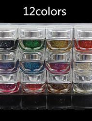 12pcs Crystal Phototherapy Nail  Gel Glitter Nail UV Resin