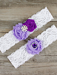 2pcs/set Lavender And Deep Purple Satin Lace Chiffon Beading Wedding Garter