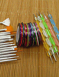 15pcs nail art tools brushes+5pcs nail art dotting pen+30 color nail striping tape set nail gel polish beauty stickers