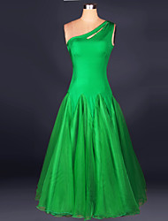 Ballroom Dance Dresses Women's Performance Chinlon / Crepe Draped 1 Piece Fuchsia / Green / WhiteModern Dance / Performance / Ballroom