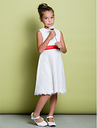 Sheath / Column Knee-length Flower Girl Dress - Lace Jewel with Lace