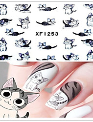 1PCS Cute Little Cat  Water Transfer Printing Nail Stickers