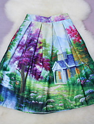 Fashion Women's Chinese style Landscape paintings Printing Slim Elastic Waist Knee-length Luxury Skirts